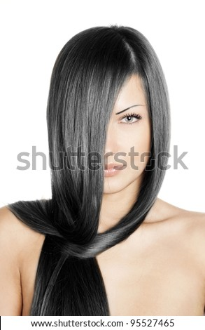 closeup portrait of a beautiful young woman with elegant long black shiny hair , hairstyle , isolated on white background , healthy straight hair