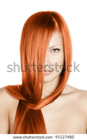 closeup portrait of a beautiful young woman with elegant long red shiny hair , hairstyle , healthy straight hair , isolated on white background