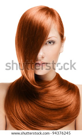 closeup portrait of a beautiful young woman with elegant long red shiny hair , hairstyle , isolated on white background , healthy straight  hair