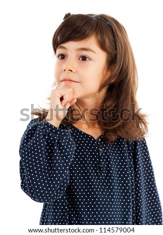 Closeup portrait of a cute little girl thinking isolated on white
