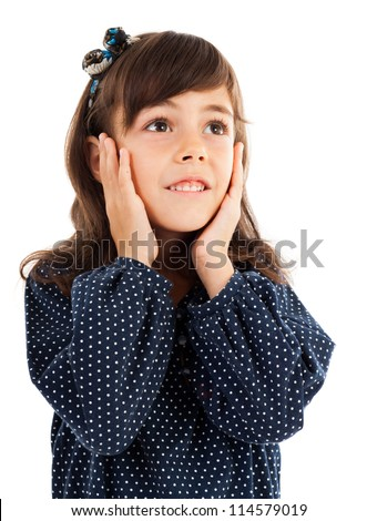 Closeup portrait of a cute little girl with surprised facial expression isolated on white