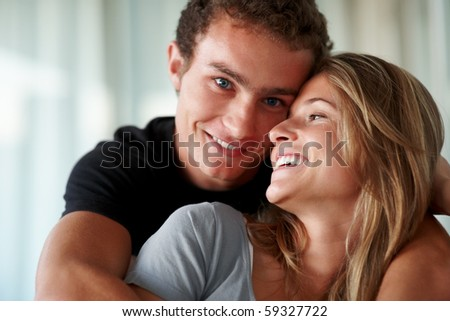 stock photo : Closeup portrait of a cute young couple enjoying themselves
