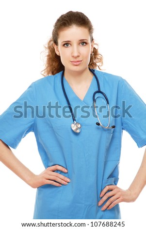 Closeup portrait of a female doctor, isolated on white background