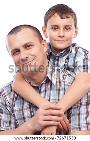 Closeup portrait of a happy father and son, isolated on white background