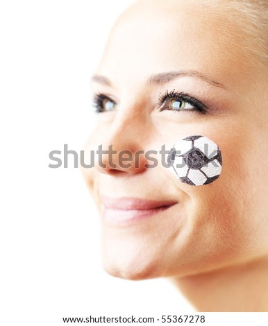 Closeup portrait of a happy football fan, shallow DOF, isolated