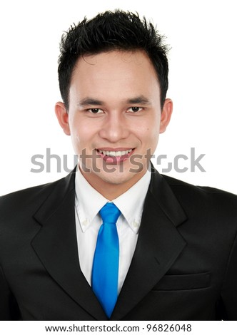 Closeup portrait of a happy young asian man smiling on white background - stock photo