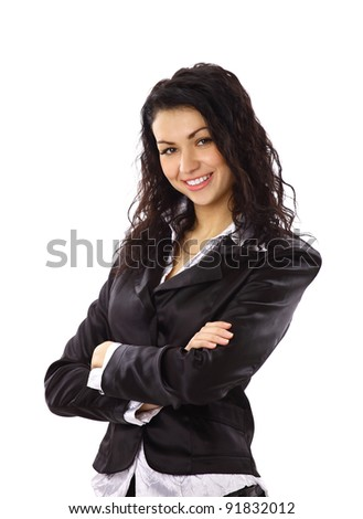 Closeup portrait of a happy young business woman smiling isolated on white background