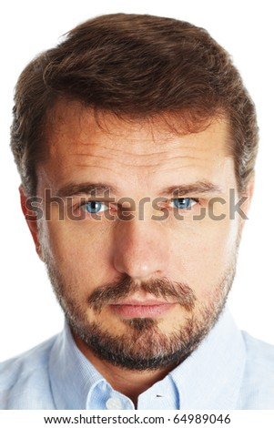 Closeup portrait of a mature handsome businessman with blue eyes, isolated over white background
