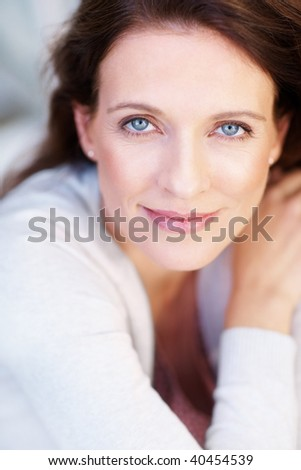 stock photo : Closeup portrait of a pretty middle aged woman smiling