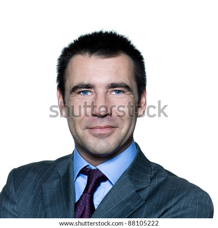 Closeup portrait of a smiling handsome businessman in studio on isolated white background