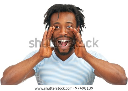Closeup portrait of a young african american man screaming out loud, isolated on a white background