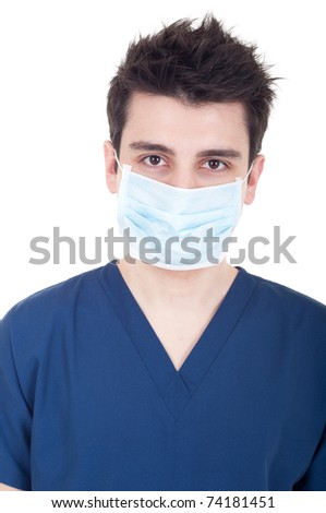 closeup portrait of a young doctor wearing mask isolated on white background