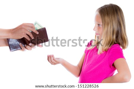 Closeup portrait of adorable girl demanding money for allowance, guy pulls out money from wallet to give her, isolated on white background