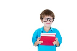 Closeup portrait of adorable young boy with big black glasses holding books, isolated on white background with copy space