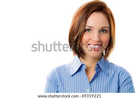 Closeup portrait of an adorable happy woman