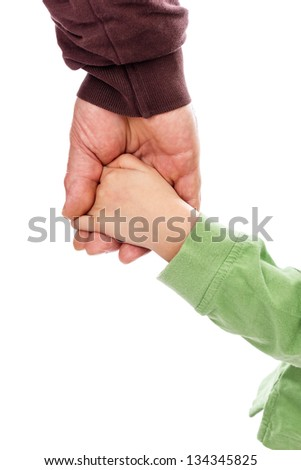 Closeup portrait of an adult hand holding a child's hand on white background