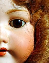 Closeup Portrait Of An Antique Female Doll Face