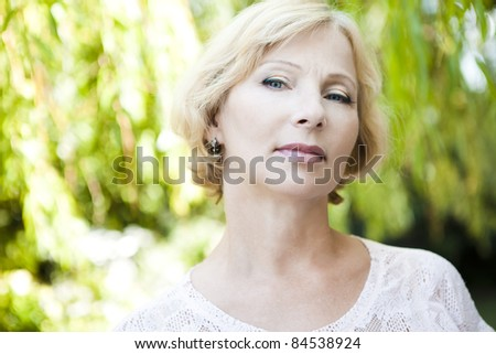 Closeup portrait of an attractive senior woman