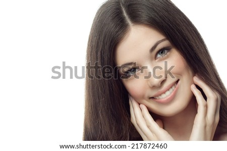 closeup portrait of attractive  caucasian smiling woman brunette isolated on white studio shot lips toothy smile face hair head and shoulders looking at camera tooth body