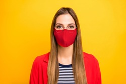 Closeup portrait of attractive lovely winsome brainy genius straight hair lady use protective facial mask at work study responsible citizen isolated vivid yellow background