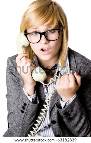 closeup portrait of attractive young businesswoman with phone on white background