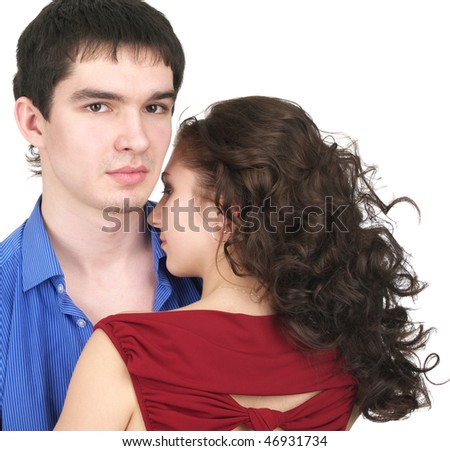Closeup portrait of beautiful couple isolated over white background