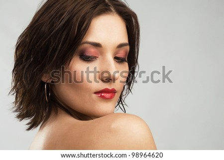 Closeup portrait of beautiful elegant woman - stock photo