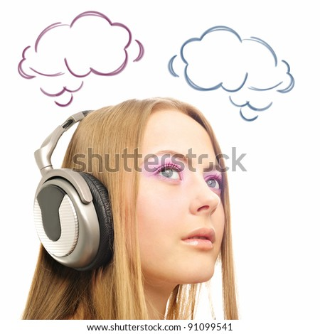 Closeup portrait of beautiful european woman with headphones, she is listen to the music or language course and blank cloud balloon with her thoughts overhead