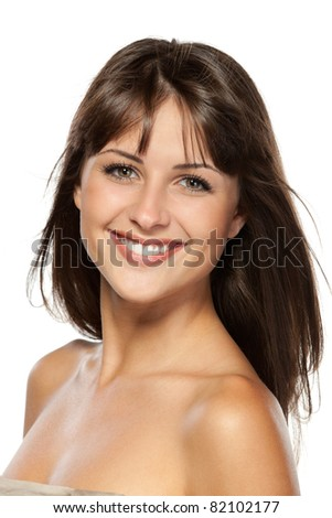 Closeup portrait of beautiful female, isolated on white background