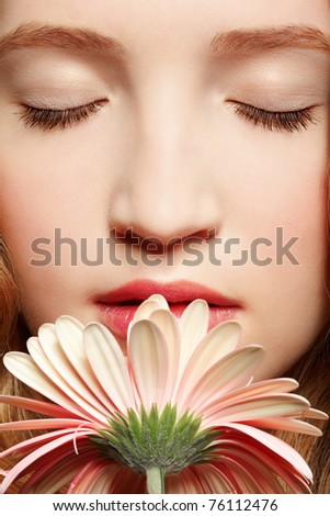 stock photo : closeup portrait of beautiful healthy teen girl smelling ...