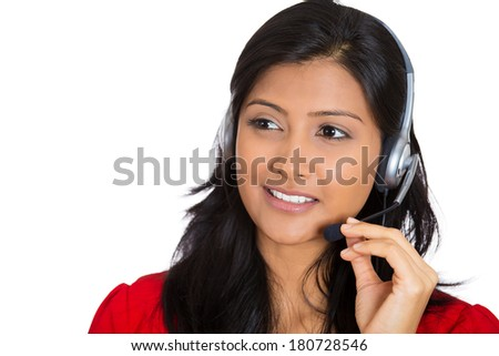 Closeup portrait of beautiful smiling adorable female customer representative business woman with phone headset chatting on line with customer isolated on white background. Human emotions, expressions #180728546