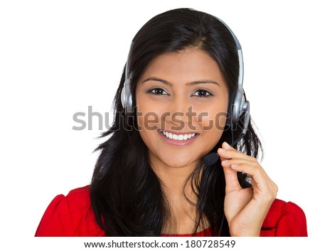 Closeup portrait of beautiful smiling adorable female customer representative business woman with phone headset chatting on line with customer isolated on white background. Human emotions, expressions #180728549