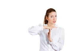 Closeup portrait of beautiful woman, businesswoman, young corporate executive, company manager making time out sign with hands, looking very serious, isolated on white background with copy space