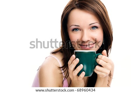 Closeup portrait of beautiful woman drinking coffee