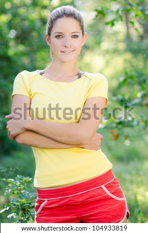 Closeup portrait of beautiful young woman - Outdoor