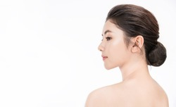 Closeup portrait of beauty asian woman with fair perfect healthy glow skin half face with copy space, young beautiful asia girl with pretty smile on face. Beauty korean clinic skincare concept banner