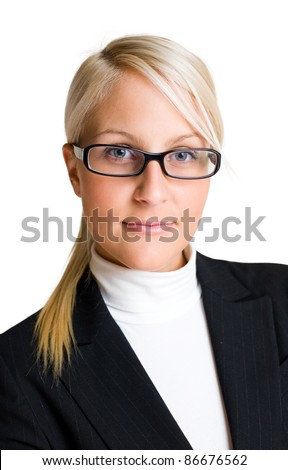 Closeup portrait of confident blond business woman isolated on white background.