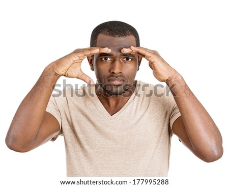 Closeup portrait of curious, thorough student, thoughtful man, guy looking through imaginary binocular. Studio shot isolated on white background. Human face expressions, emotions, signs, body language