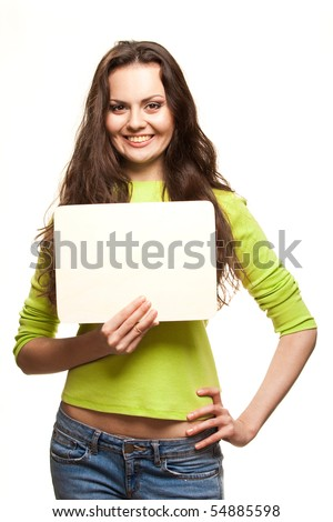 Closeup portrait of cute young woman holding a white page