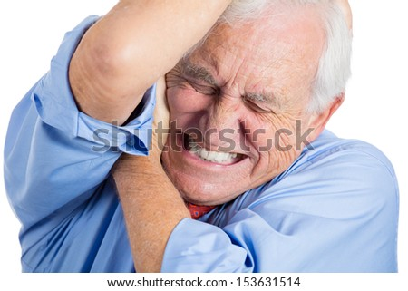Closeup portrait of elderly, senior, mature man in great excruciating pain,   isolated on white background
