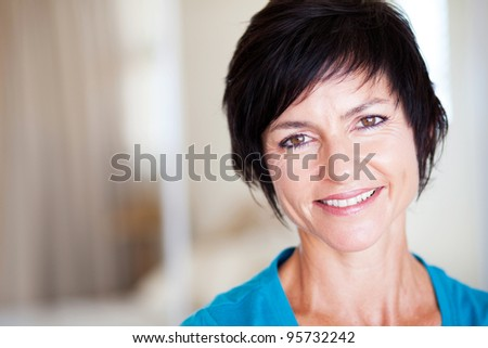 closeup portrait of elegant middle aged woman