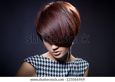 closeup portrait of glamour young girl with beautiful short hair