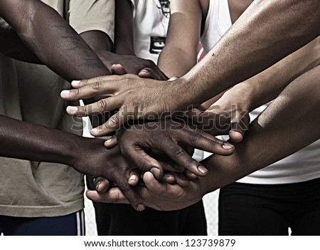 Closeup portrait of group with mixed race people with hands together #123739879