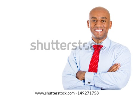 Closeup portrait of handsome businessman, isolated on white background with copy space
