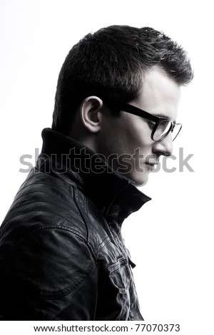 closeup portrait of handsome caucasian brunette on white
