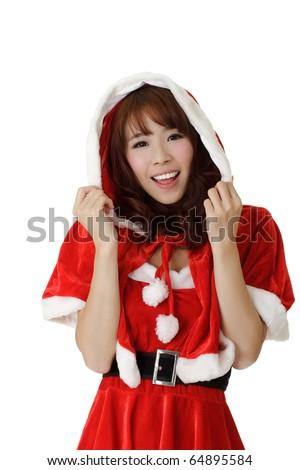 Closeup portrait of happy Asian Christmas girl wear Santa Claus clothes.