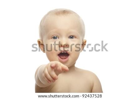 Closeup portrait of happy baby isolated white