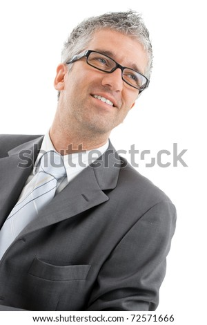 Closeup portrait of happy businessman wearing gray suit with blue tie and glasses. Isolated on white background.? - stock photo