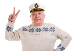 Closeup portrait of happy old man showing two fingers,victory sign, positive or peace gesture. isolated on white background