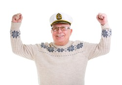 Closeup portrait of happy old senior man with a smile and white teeth,  raised his hands up, boat captain cap, isolated on white background